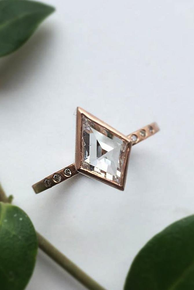 rose gold unique engagement rings diamond modern pave band