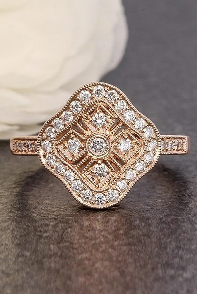 rose gold unique engagement rings floral halo pave band diamond