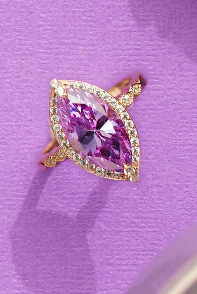 rose gold unique engagement rings marquise cut gemstone