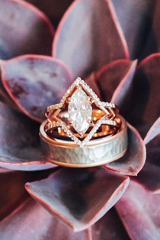 rose gold unique engagement rings marquise original