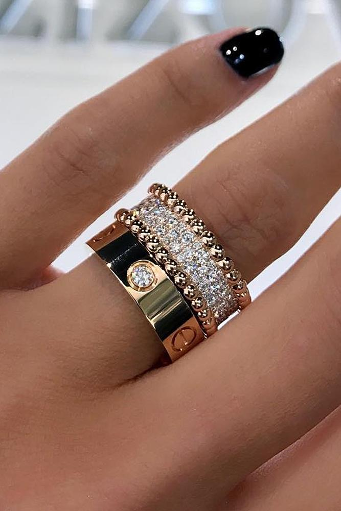 rose gold unique engagement rings modern ring unique pave band