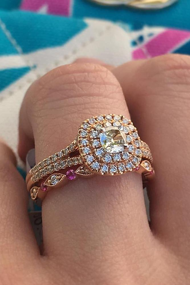 rose gold unique engagement rings modern ring with round cut diamond double halo