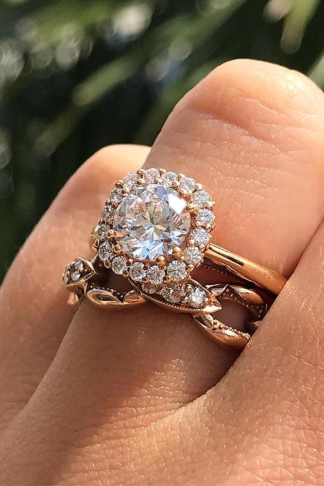 rose gold unique engagement rings modern ring with round cut diamond halo