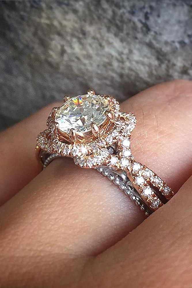 rose gold unique engagement rings modern ring with round cut diamond unique pave band