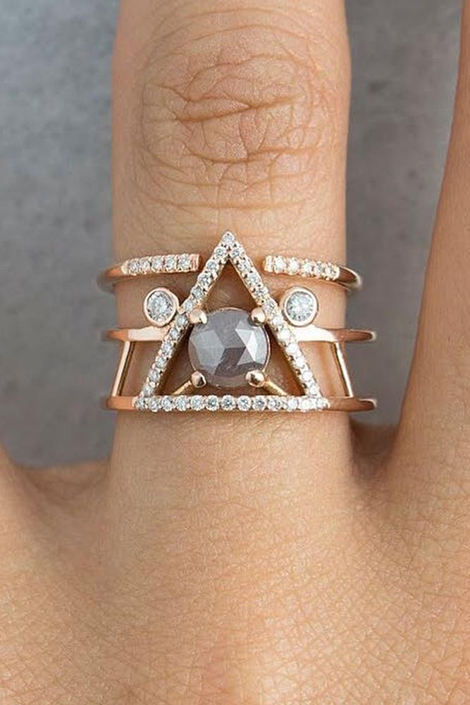 rose gold unique engagement rings modern ring with unusual band