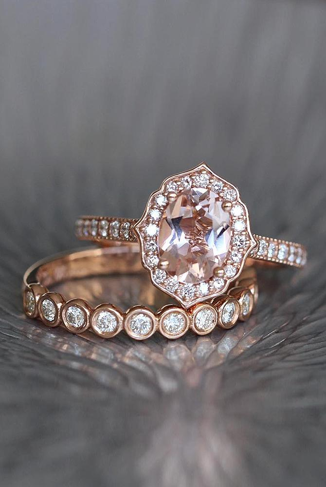 rose gold unique engagement rings oval cut halo pave band set