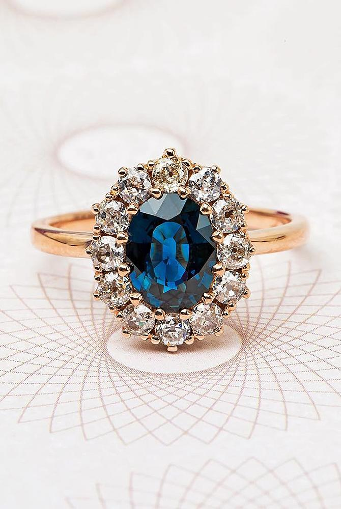 rose gold unique engagement rings oval cut sapphire halo floral