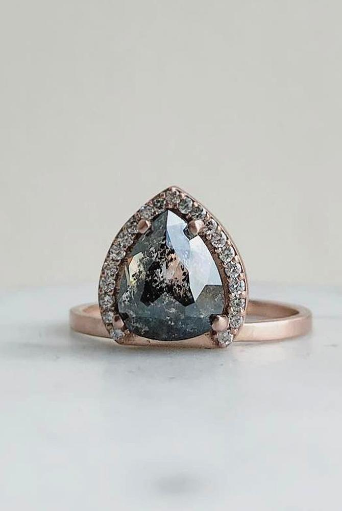 rose gold unique engagement rings pear cut black diamond halo