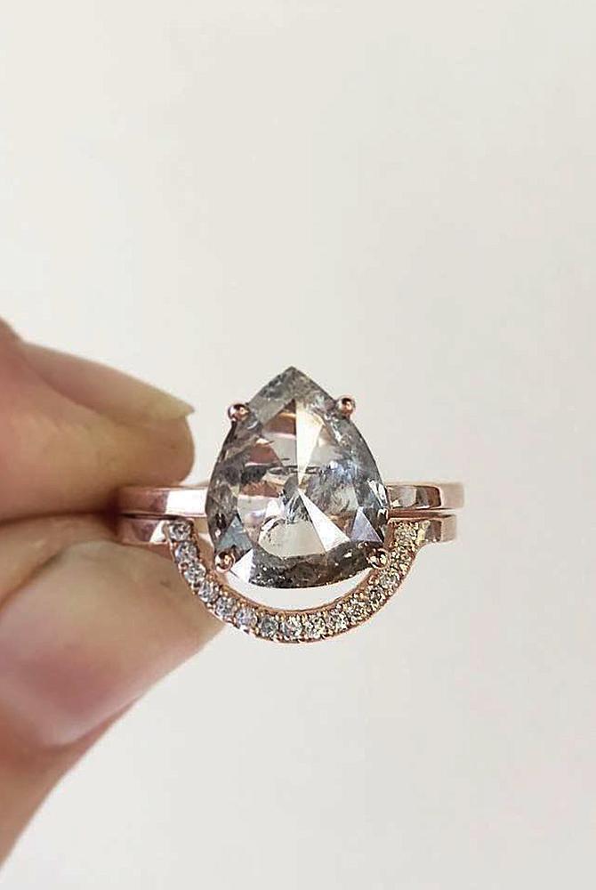 rose gold unique engagement rings pear cut diamond solitaire set