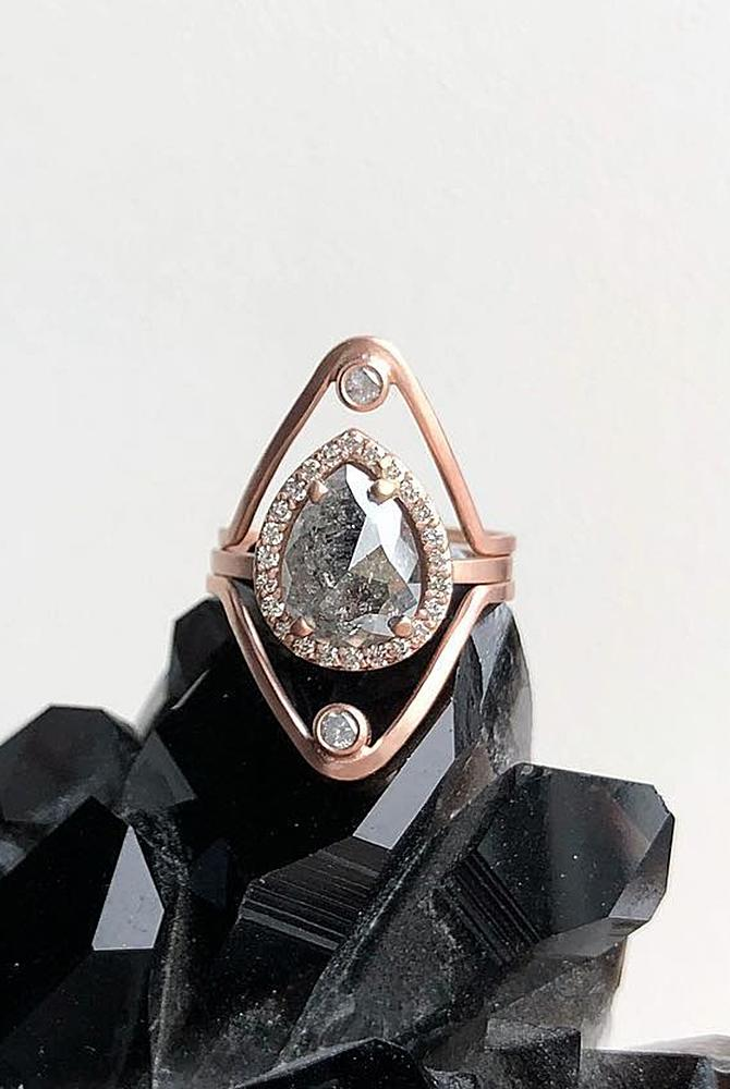 rose gold unique engagement rings pear cut halo black diamond