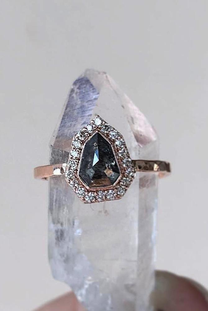 rose gold unique engagement rings pear cut halo black diamond