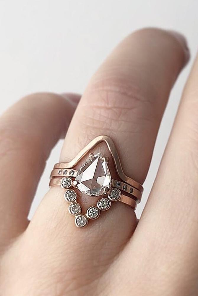 rose gold unique engagement rings pear cut solitaire wedding set
