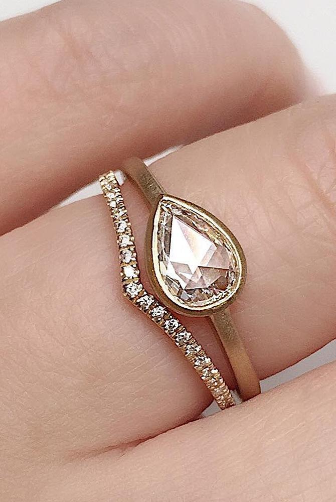rose gold unique engagement rings pear cut wedding set