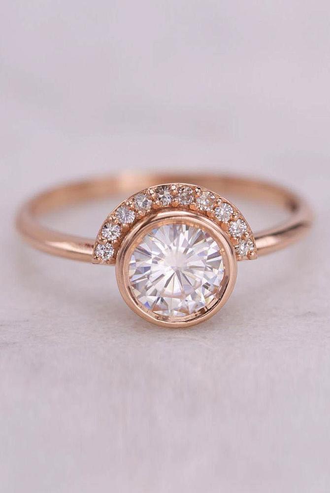 rose gold unique engagement rings round cut diamond