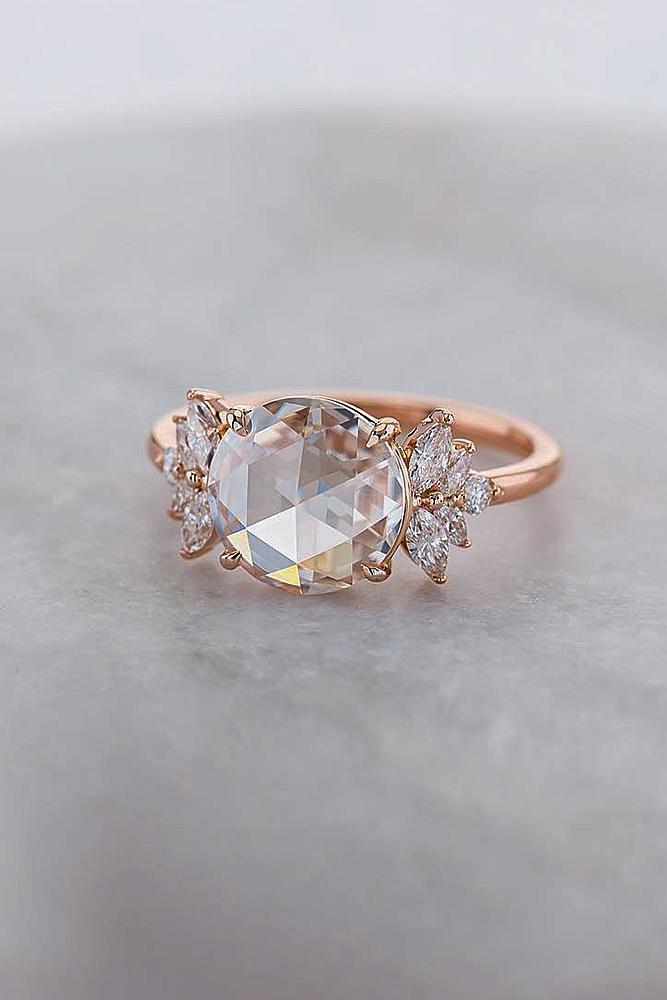 rose gold unique engagement rings round cut gemstone