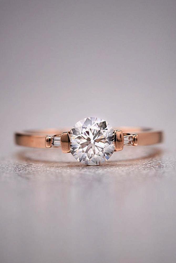 rose gold unique engagement rings round cut solitaire diamond