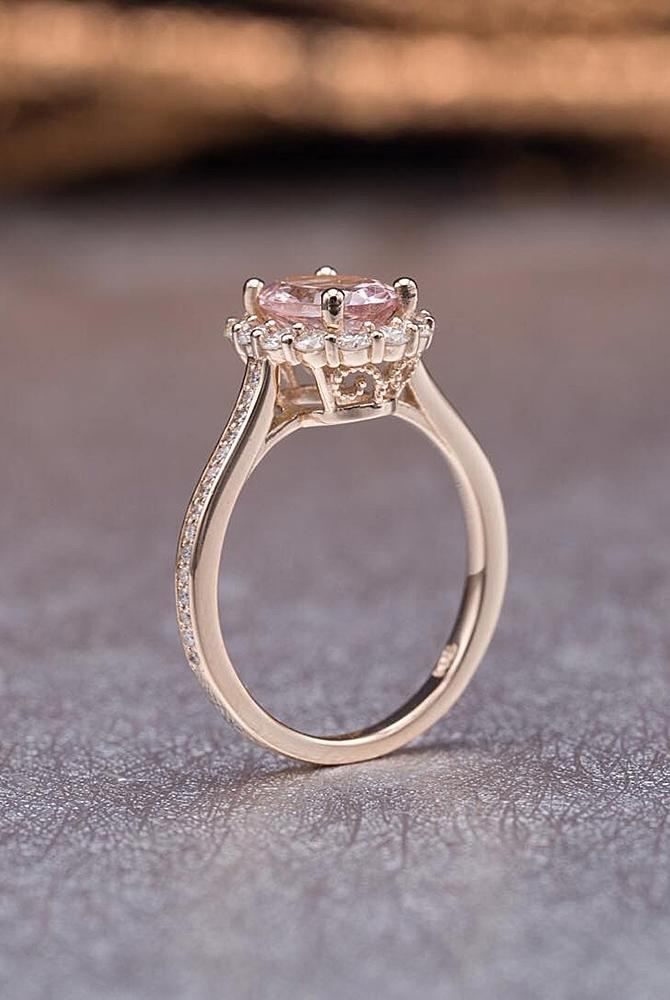 rose gold unique engagement rings round cut solitaire morganite