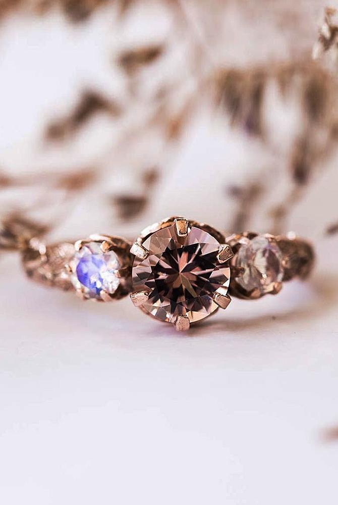 rose gold unique engagement rings round cut three stones solitaire