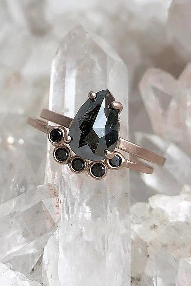 rose gold unique engagement rings solitaire black diamond wedding set