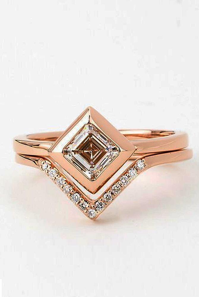 rose gold unique engagement rings wedding set modern daimond princess cut