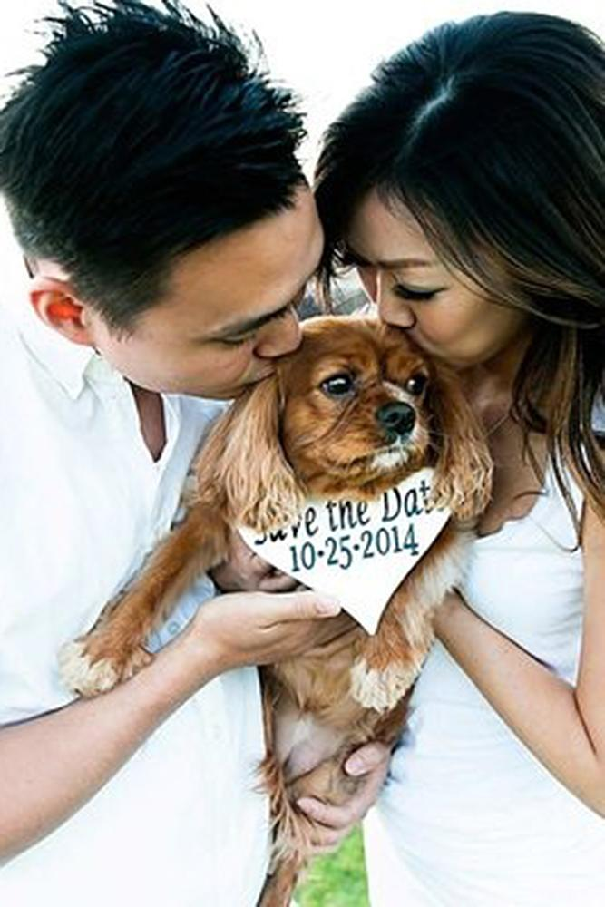 save the proposal date cute engagement couple puppy