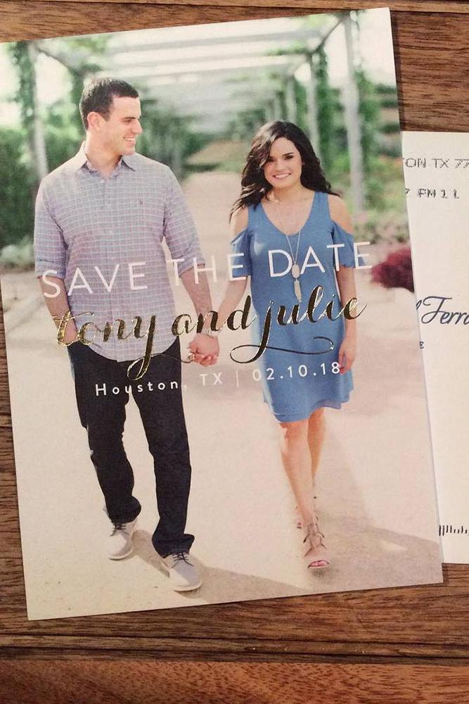 save the proposal date two persons walking hand by hand on a postalcard with dates