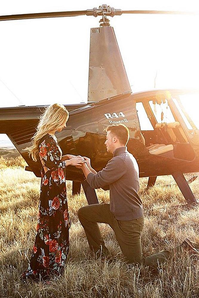unique proposal ideas amazing proposal near helicopter