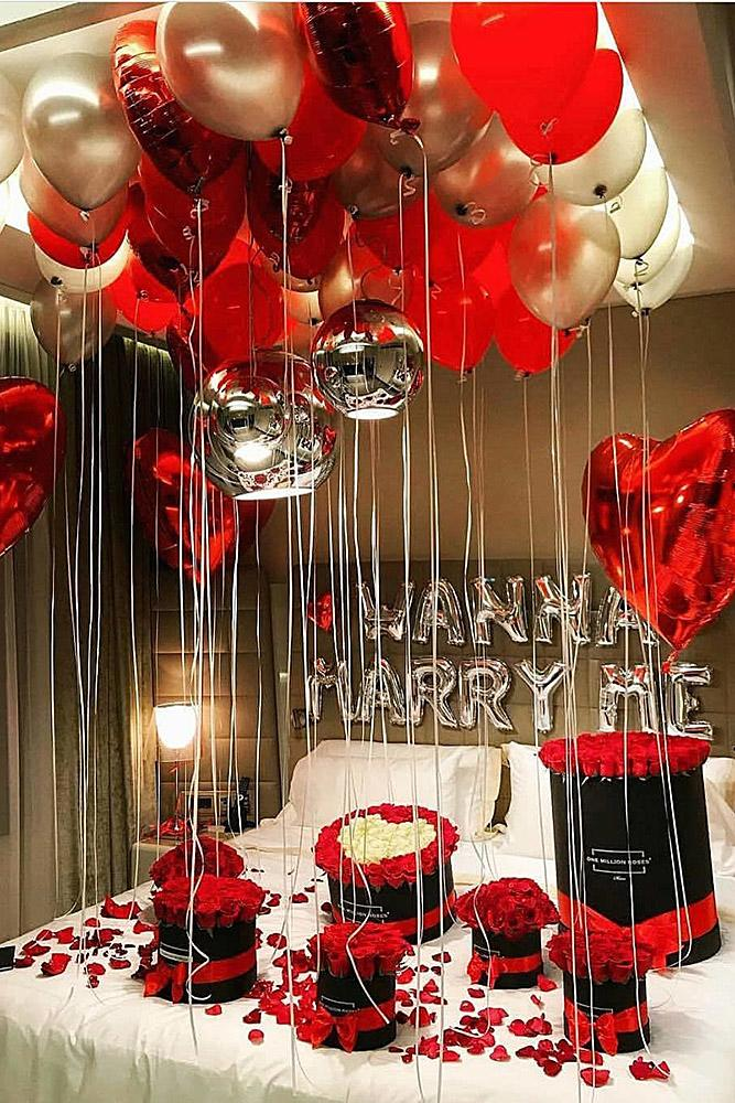 unique proposal ideas red and white balloons