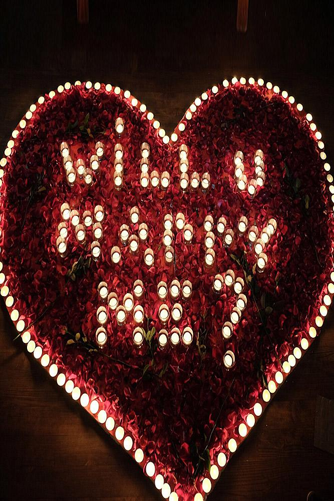 unique proposal ideas roses and candles heart romantic
