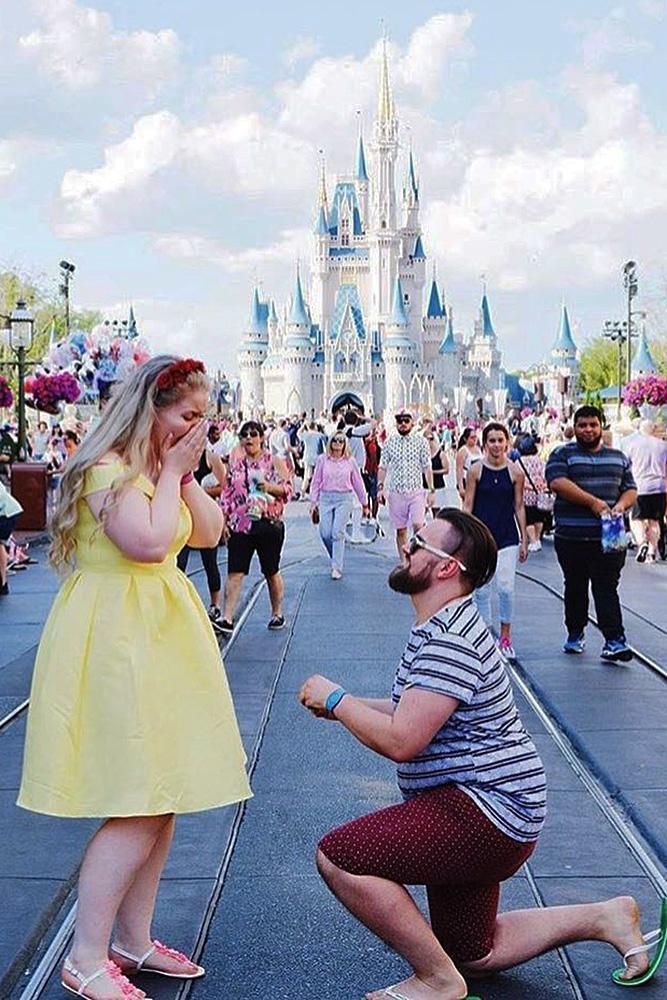 Disney proposal ideas couple romantic cinderella castle