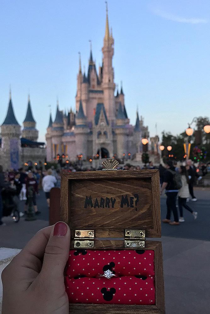 Disney proposal ideas engagement ring box surprise