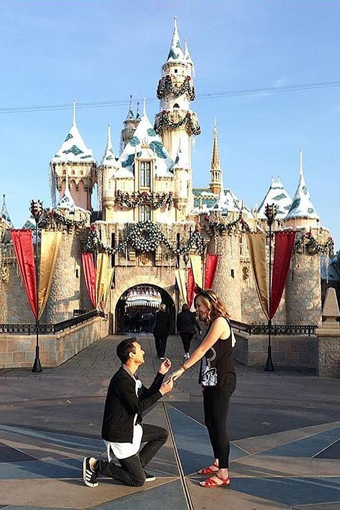 Disney proposal ideas romantic engagement near castle