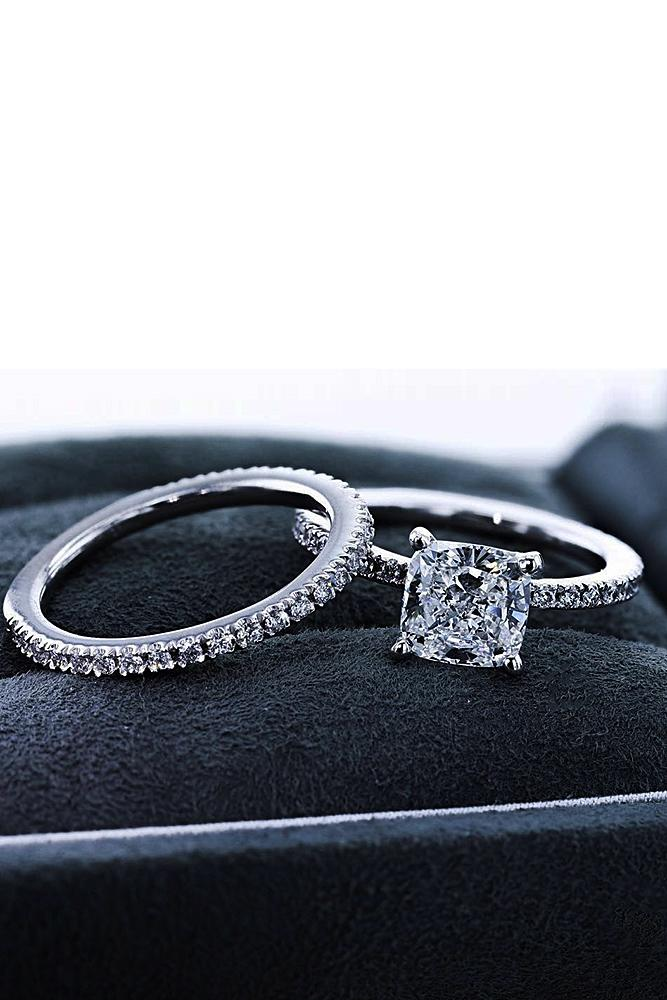 best brilliance wedding ring sets cushion cut diamond pave band solitaire