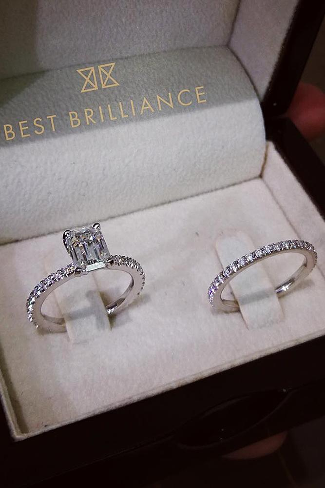 best brilliance wedding ring sets emerald cut solitaire diamond pave band