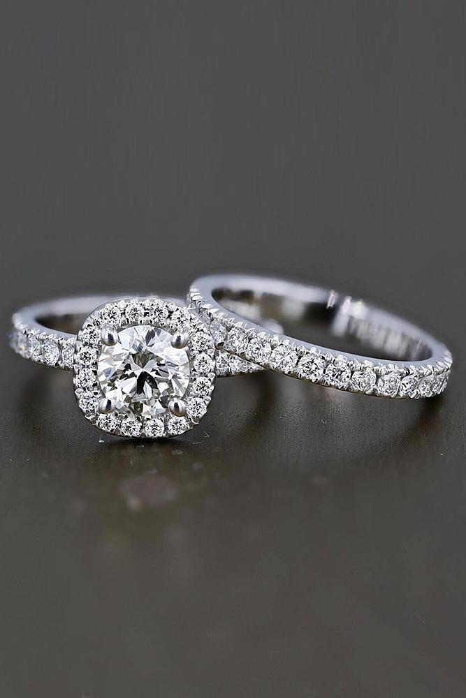 best brilliance wedding ring sets pave band halo round cut diamond