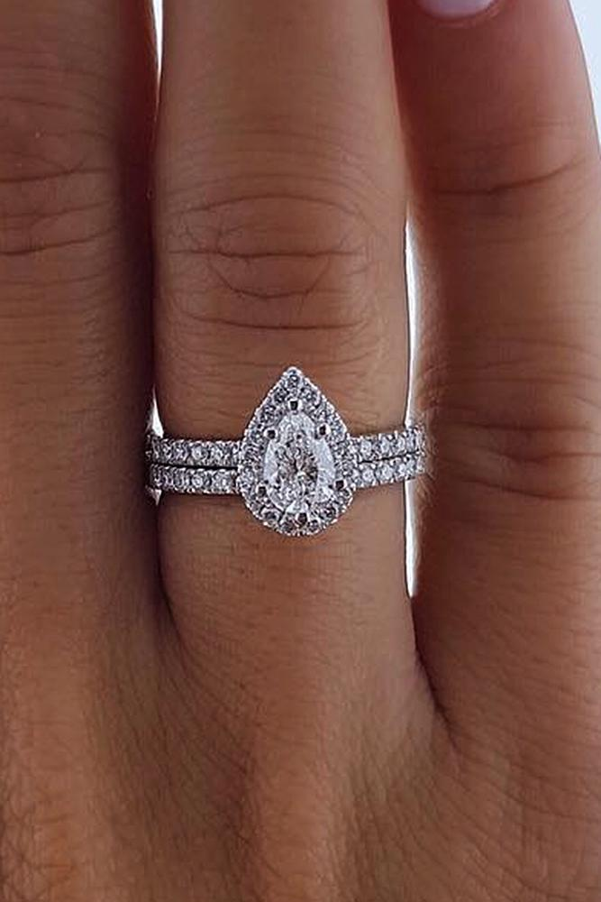 best brilliance wedding ring sets pave band pear cut halo diamond