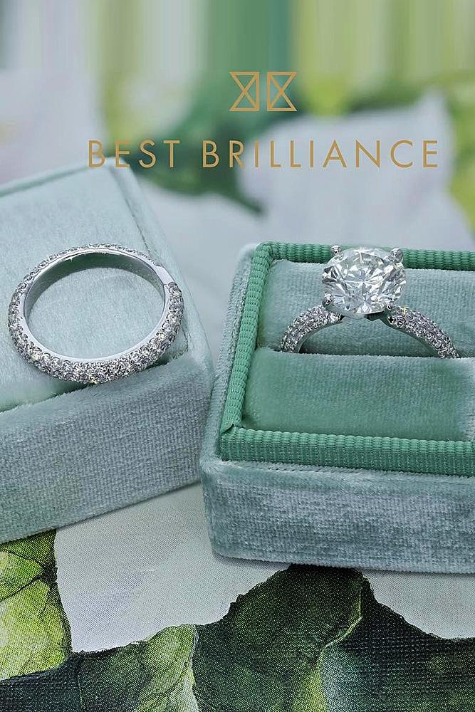 best brilliance wedding ring sets pave band round cut diamond solitaire