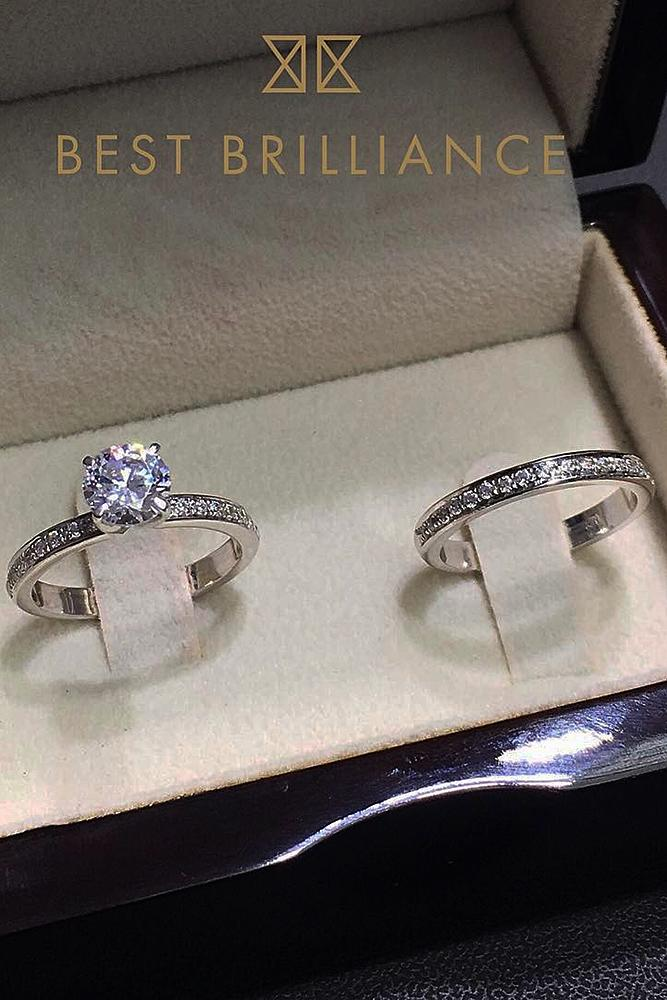 best brilliance wedding ring sets pave band solitaire diamond white gold