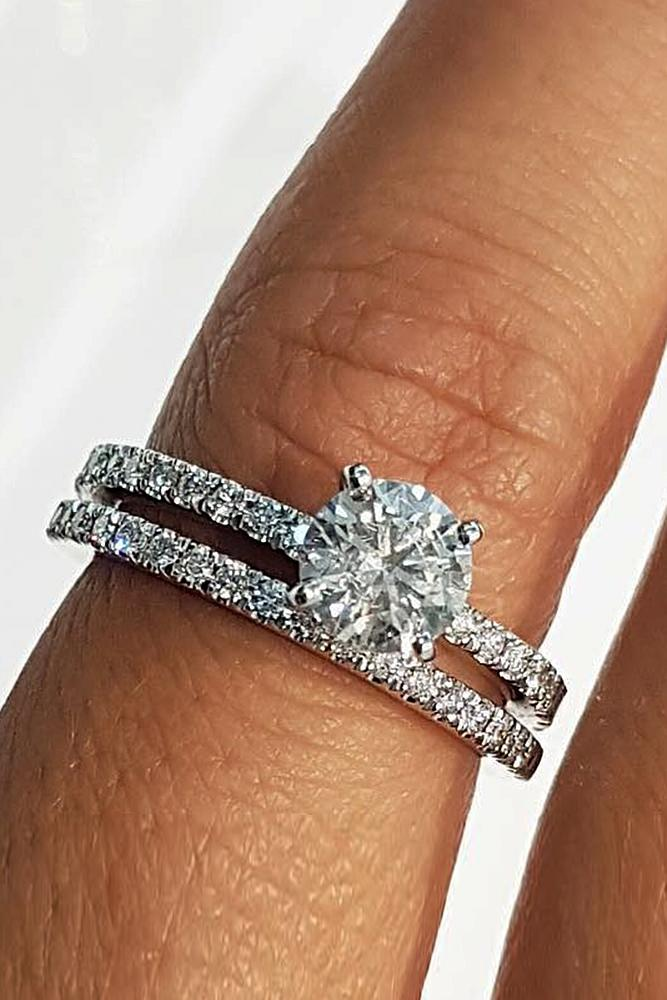 best brilliance wedding ring sets round cut diamond pave band solitaire