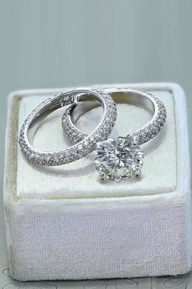 best brilliance wedding ring sets round cut pave band white gold solitaire diamond