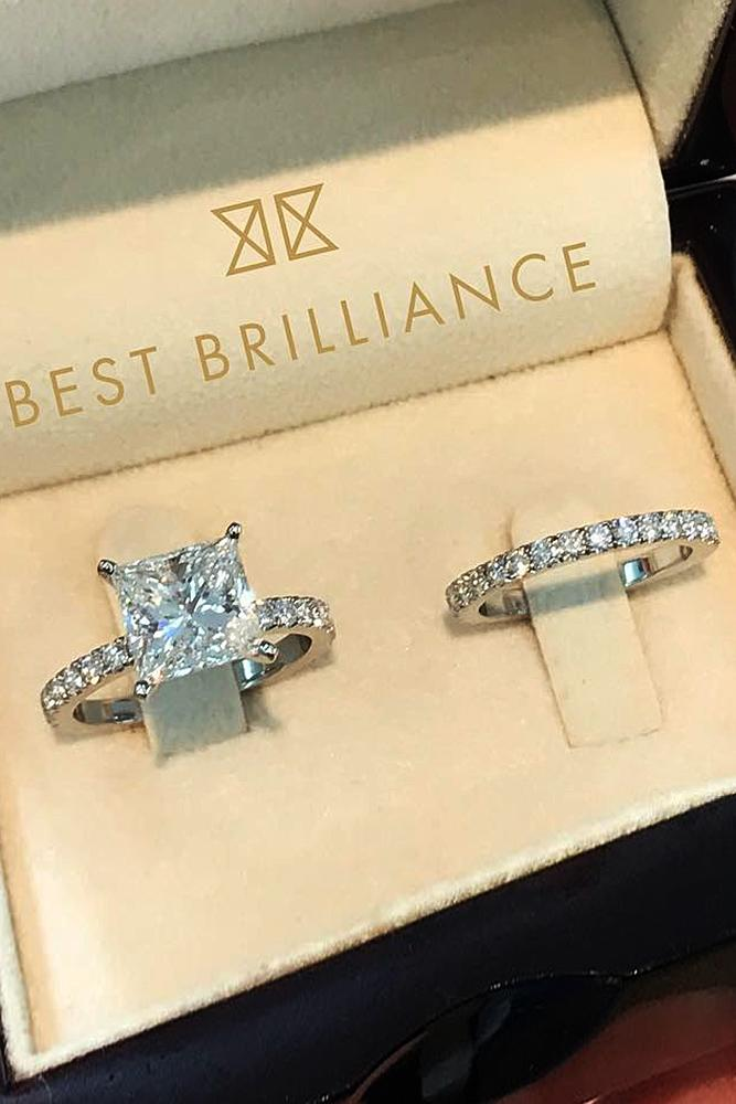 best brilliance wedding ring sets solitaire diamond pave band princess cut