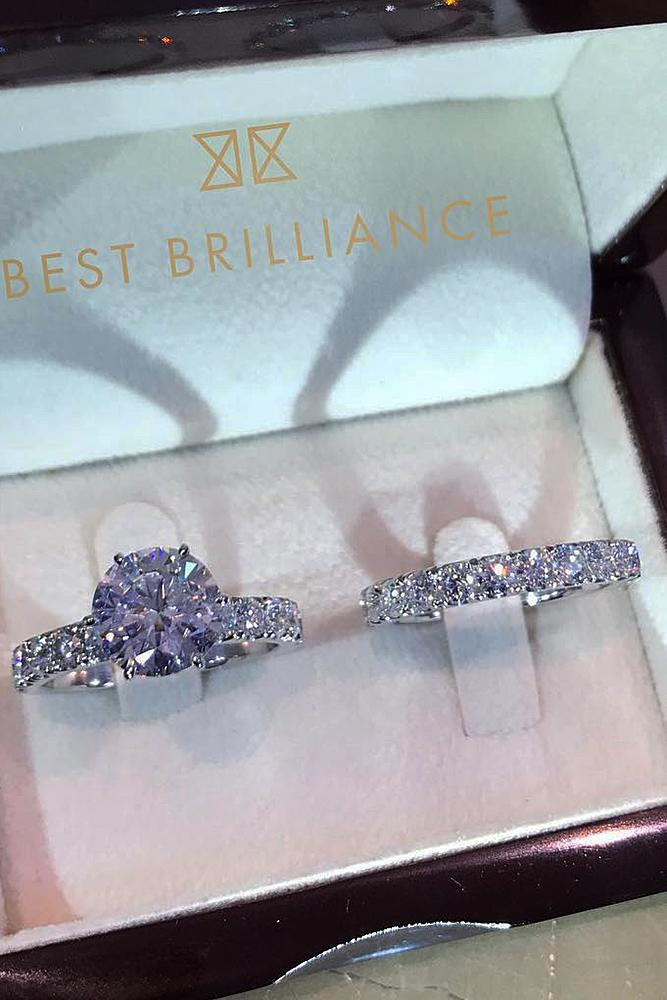 best brilliance wedding ring sets solitaire diamond round cut pave band