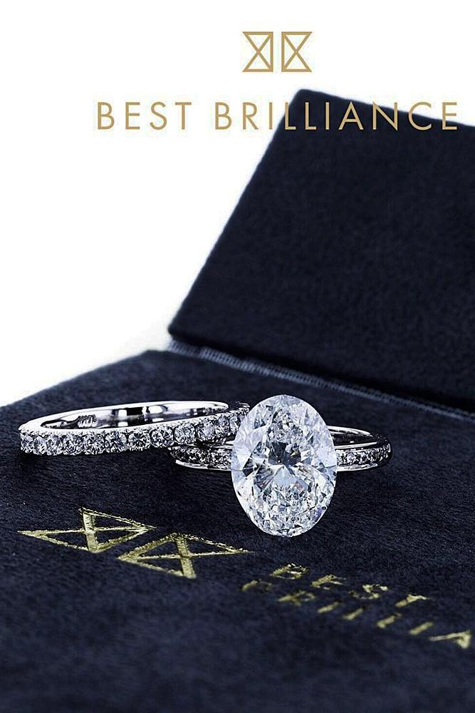 best brilliance wedding ring sets solitaire oval cut diamond pave band