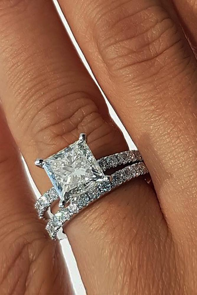best brilliance wedding ring sets solitaire princess cut diamond pave band