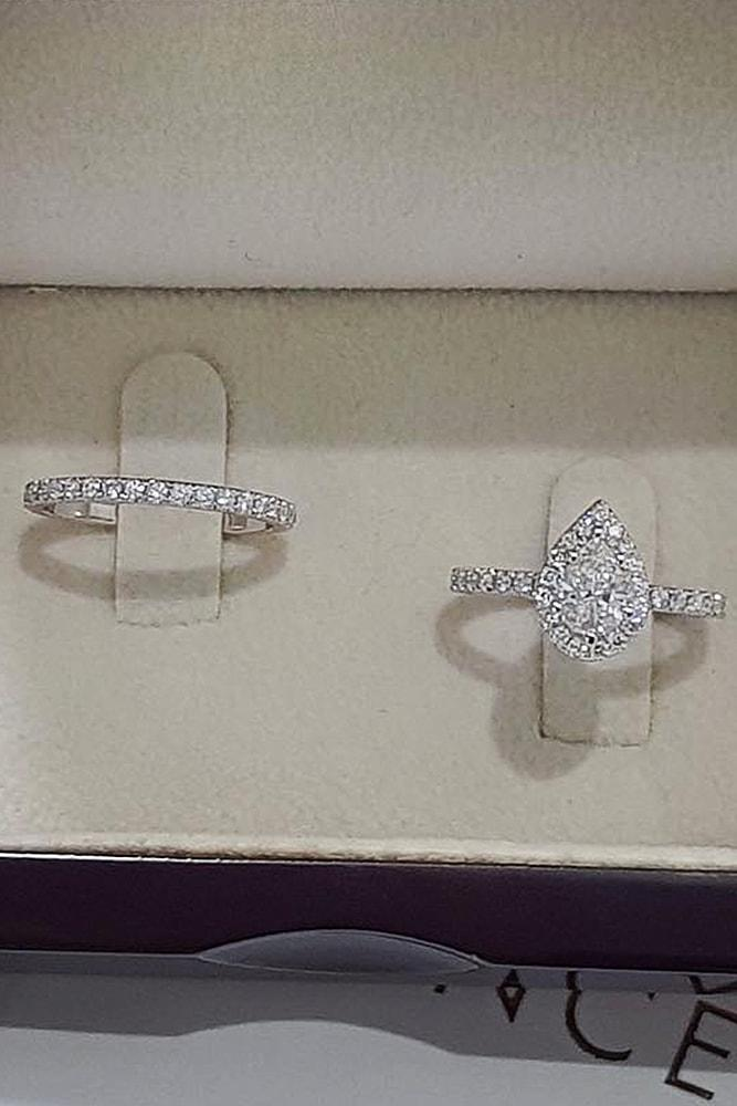 best brilliance wedding ring sets white gold pear cut diamond halo sparkling