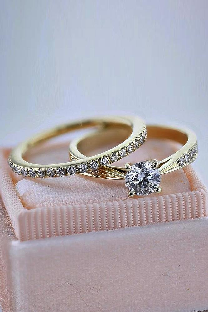 Best Brilliance Wedding Ring Sets Yellow Gold Round Cut Pave Band Simple