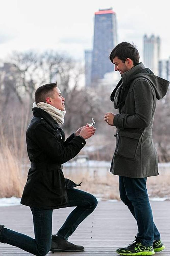 same sex proposals city proposal romantic couple