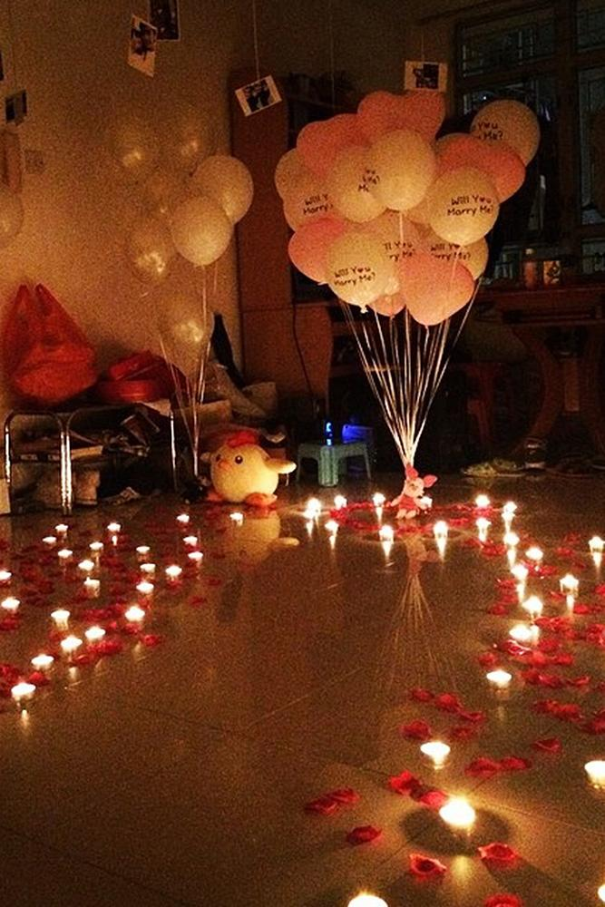 valentines day proposal balloons decor candles