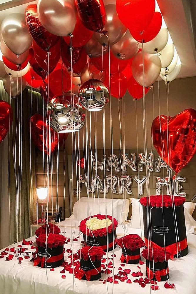 valentines day proposal balloons roses decor