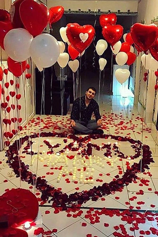valentines day proposal man home roses romantic
